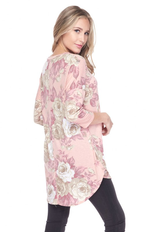 """Peaches & Cream"" 3/4 Sleeve Floral Tunic/Top-Lola Monroe Boutique"