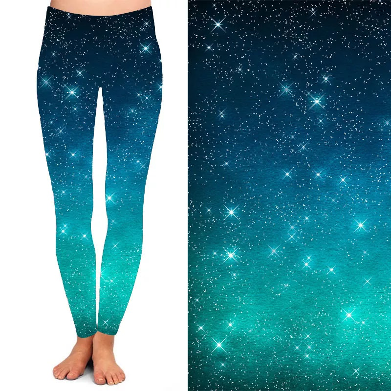 Galaxy Leggings (Teal)-Lola Monroe Boutique