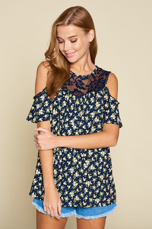 Floral & Lace Cold Shoulder Tunic-Lola Monroe Boutique