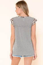 Ruffled Shoulder Stripe Tank with Animal Accent-Lola Monroe Boutique