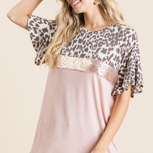 Sequins & Animal Print Top-Lola Monroe Boutique