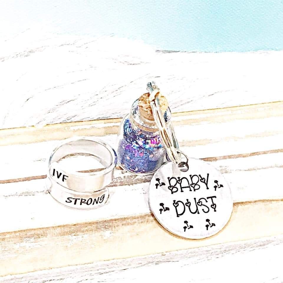 Pre-sale Baby Dust Keychain & IVF Ring Set-Lola Monroe Boutique