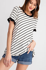 """Caught In A Line"" Bias Way Ruffle Short Sleeve Top-Lola Monroe Boutique"