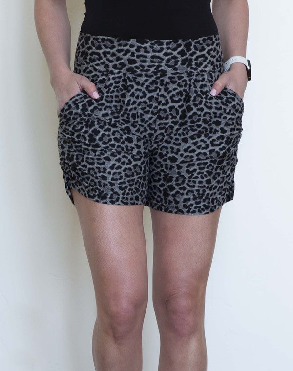 Black & Grey Animal Print Harem Shorts-Lola Monroe Boutique