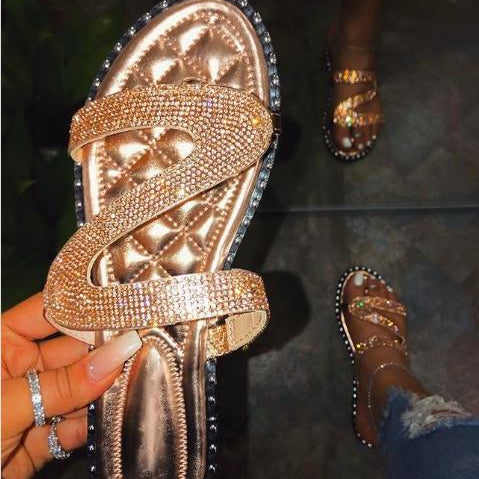Copper Rhinestone Sandals-Lola Monroe Boutique