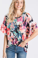 Double Ruffle Sleeve Flowy Top-Lola Monroe Boutique