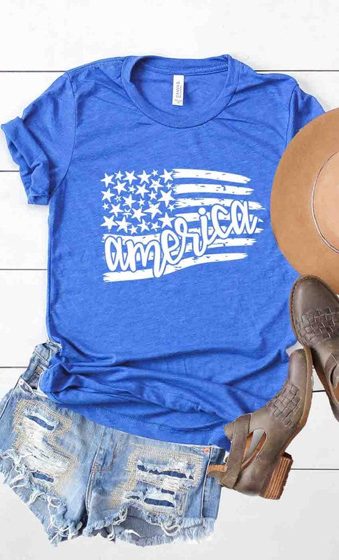 America Flag Design Tee-Lola Monroe Boutique