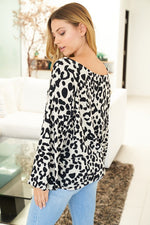 """Cheetah Girl"" Boat Neck Puff Sleeve Design Top-Lola Monroe Boutique"