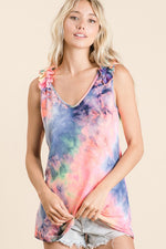 Swirly Whirly Ruffled Tank Top-Lola Monroe Boutique