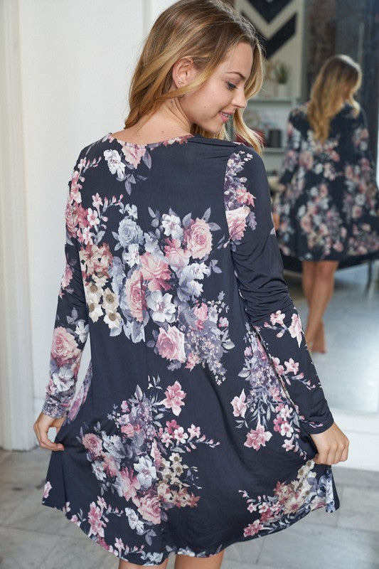 """Smokey Eye"" Floral Tunic/Dress with pockets-Lola Monroe Boutique"