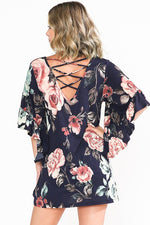 """Blooming"" Ruffle sleeved Lattice back Top-Lola Monroe Boutique"