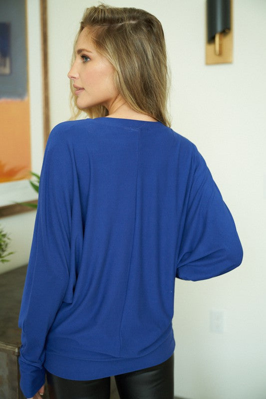"""Melody"" Oversized Dolman Sleeve Top with Collar Cut Out Design (Blue)-Lola Monroe Boutique"