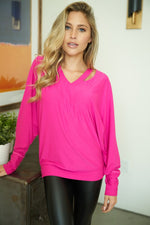 """Melody"" Oversized Dolman Sleeve Top with Collar Cut Out Design (Pink)-Lola Monroe Boutique"