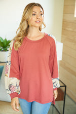 """Crimson Cuddle"" Round Neck Long Sleeve Top-Lola Monroe Boutique"