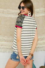 Short Sleeve Stripe Top with Camo Sleeves-Lola Monroe Boutique
