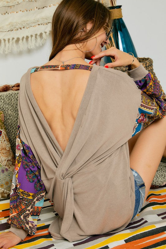Drop Long Sleeve Open Back Top-Lola Monroe Boutique