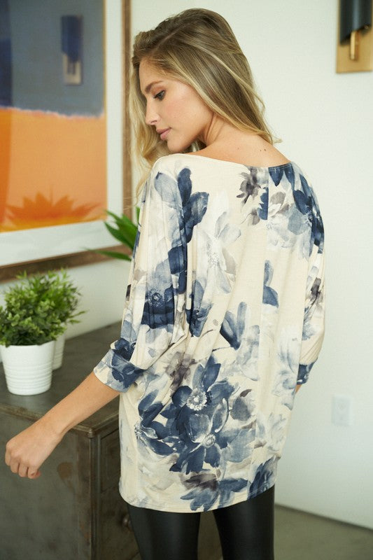 """Falling into Floral"" Boat Neck 3/4 Sleeve Top-Lola Monroe Boutique"