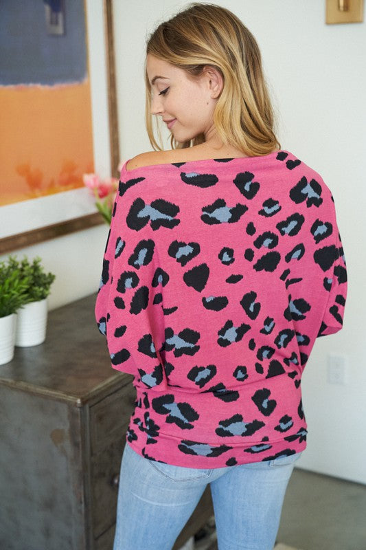 """Pink Panther"" Boat Neck Dolman Sleeve Top-Lola Monroe Boutique"