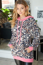 """Pretty Kitty"" Waffle Texture Accents Fleece Animal Print Hoodie-Lola Monroe Boutique"