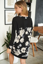 """Wendy"" Floral Long Sleeve With Front Pocket Tunic/Dress-Lola Monroe Boutique"