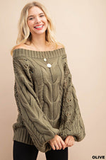 """Fly Me to the Moon"" Balloon Sleeve Cable Sweater (Olive)-Lola Monroe Boutique"