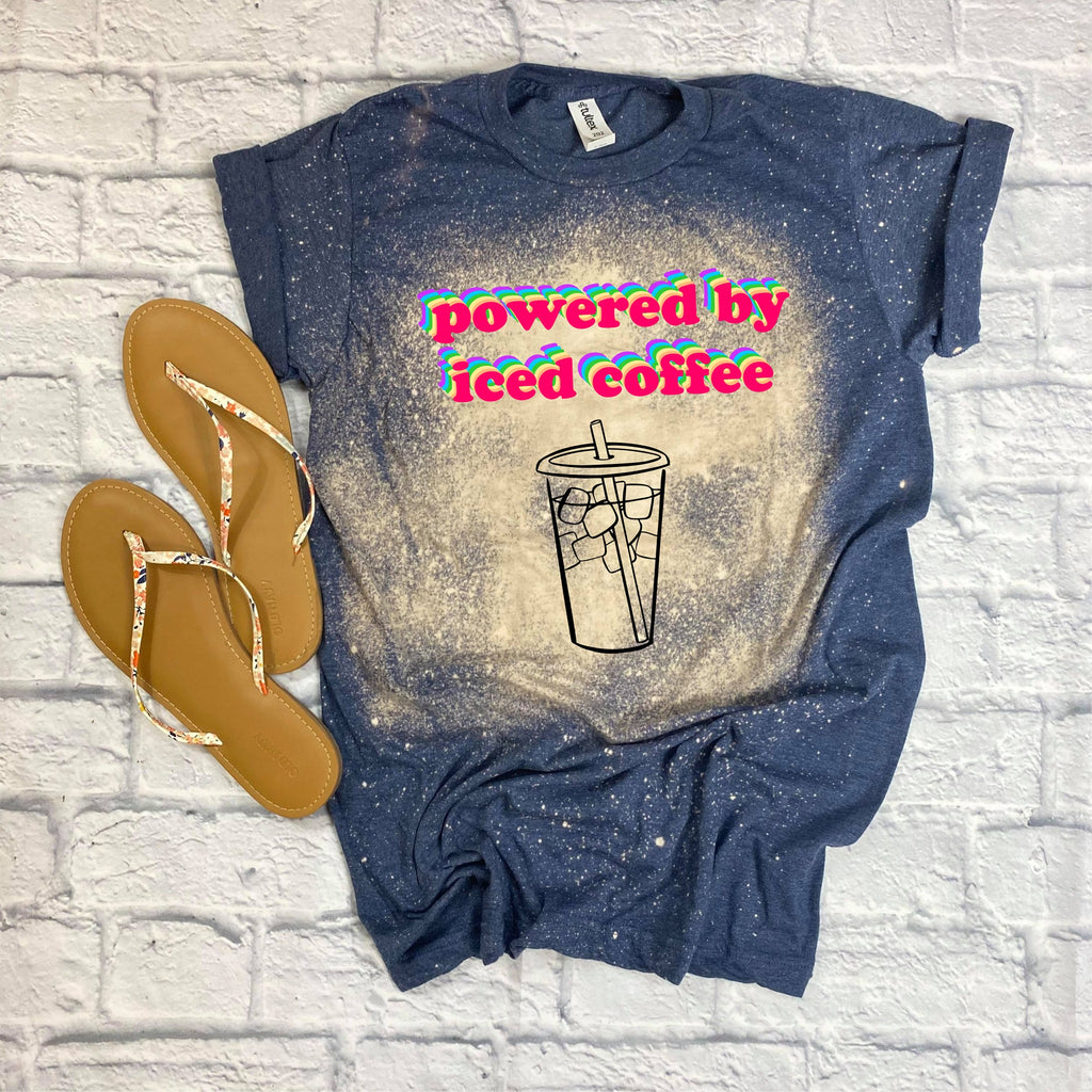 Pre-Sale Powered By Iced Coffee Custom Bleached Tee-Lola Monroe Boutique