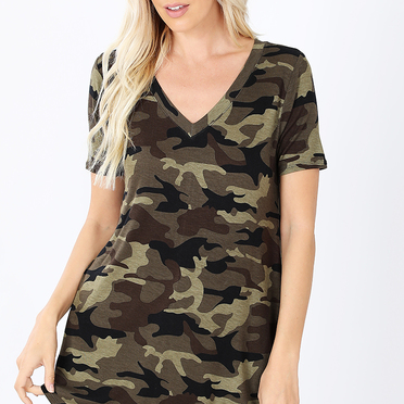 Camo V Neck LOVE!-Lola Monroe Boutique