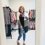 Animal Print Color Block Cardigan-Lola Monroe Boutique
