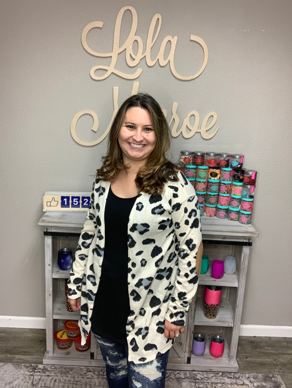 Animal Pattern Cardigan with Faux Suede Elbows-Lola Monroe Boutique