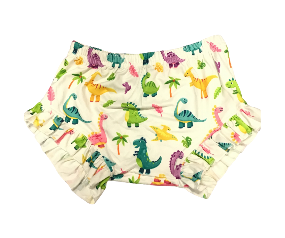 Kids Bummies ( Dinosaurs White Background)-Lola Monroe Boutique