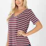 Relaxed Fit Striped V Neck Tee (Multiple Colors)-Lola Monroe Boutique