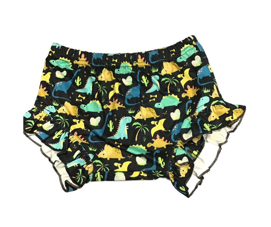 Kids Bummies ( Dinosaurs Black Background)-Lola Monroe Boutique