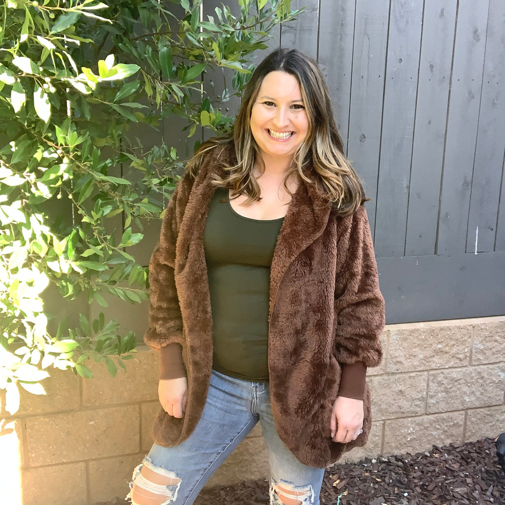 Faux Fur Cocoon Jacket with Hood & Pockets (Brown)-Lola Monroe Boutique