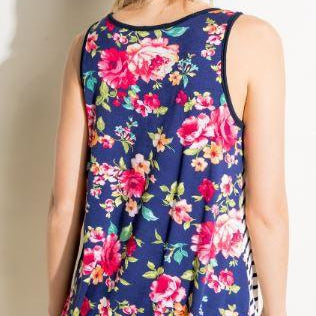 Floral Pocket Tank-Lola Monroe Boutique