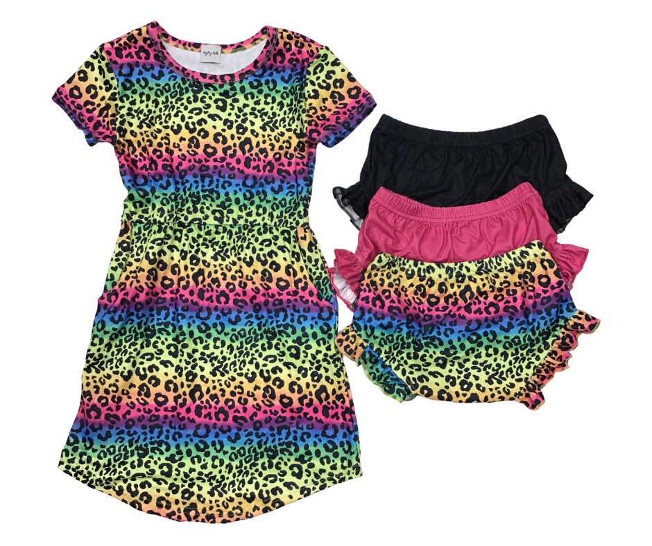 Peyton Tunic Dress with Pockets(Rainbow Animal Print)-Lola Monroe Boutique