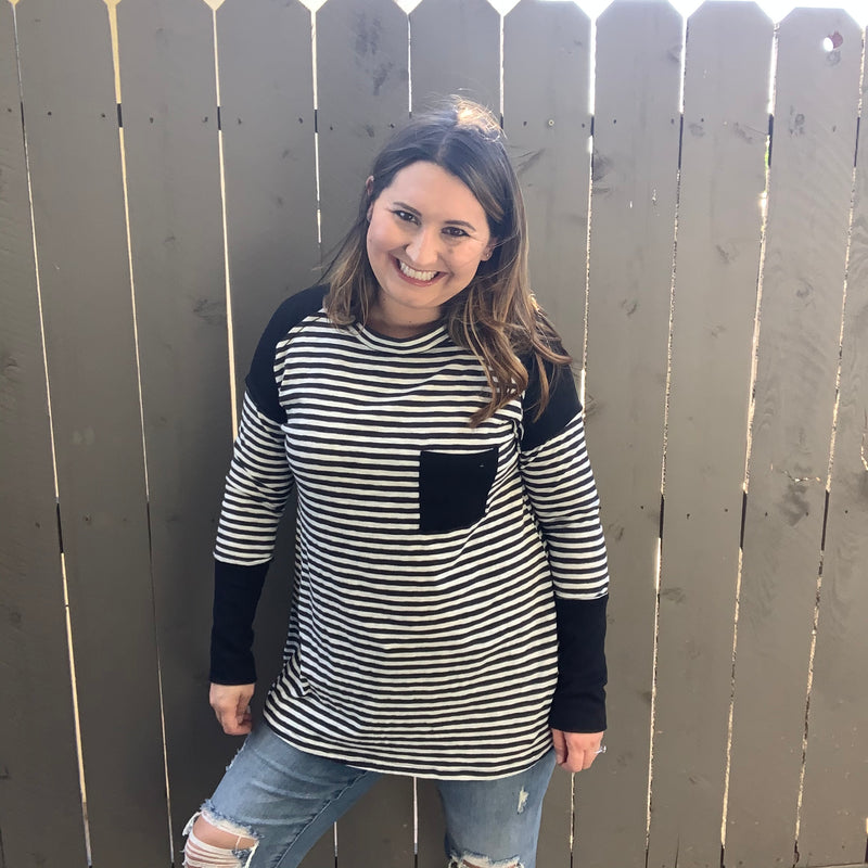 """Samantha"" Striped Long Sleeve Top with Color Block Pocket-Lola Monroe Boutique"
