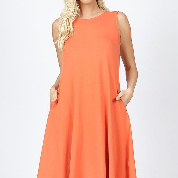 SLEEVELESS CLASSIC A-LINE DRESS WITH SIDE POCKETS-Lola Monroe Boutique