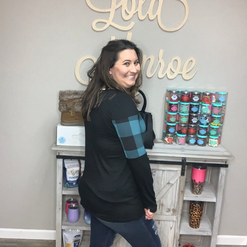 Black & Teal Plaid Long Sleeve Tunic-Lola Monroe Boutique