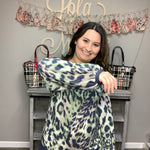 """Green Eyed Jungle Cat"" Animal Print Bubble Sleeve Top-Lola Monroe Boutique"