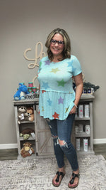 Honey Me Blue Star Baby Doll Tunic Top