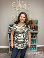 Camo Ruched Open Back Design Tee-Lola Monroe Boutique