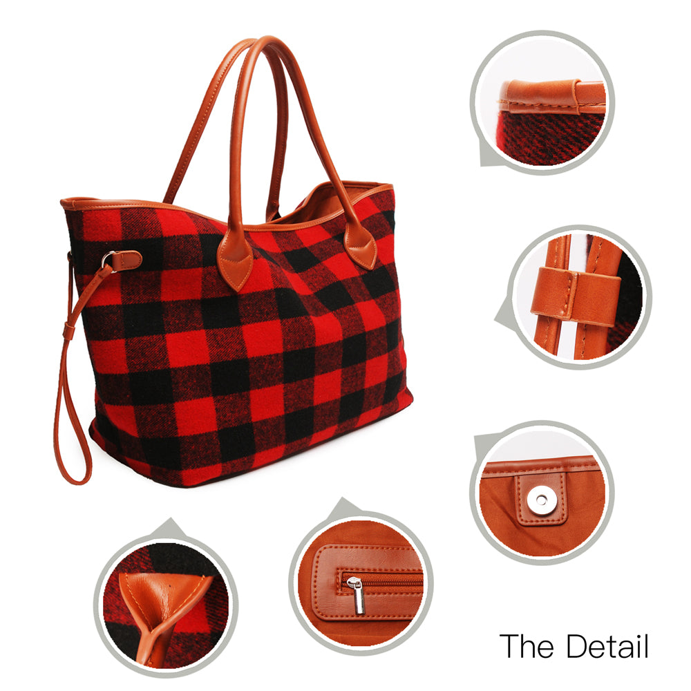 Fall Flannel and Fur Totes-Lola Monroe Boutique
