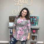 Fuzzy Floral 3/4 Sleeve Tunic Top-Lola Monroe Boutique