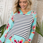 Stretch Summer Floral Hoodie-Lola Monroe Boutique
