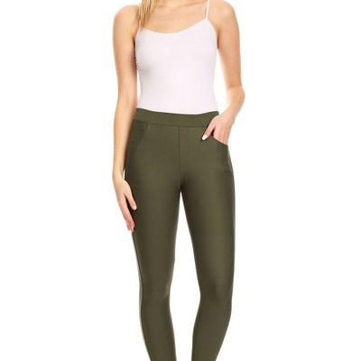 4 Pocket Ponte Pants (Olive & Navy)-Lola Monroe Boutique
