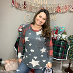 """Add a Little Sparkle"" Stars and Plaid Long Sleeve-Lola Monroe Boutique"