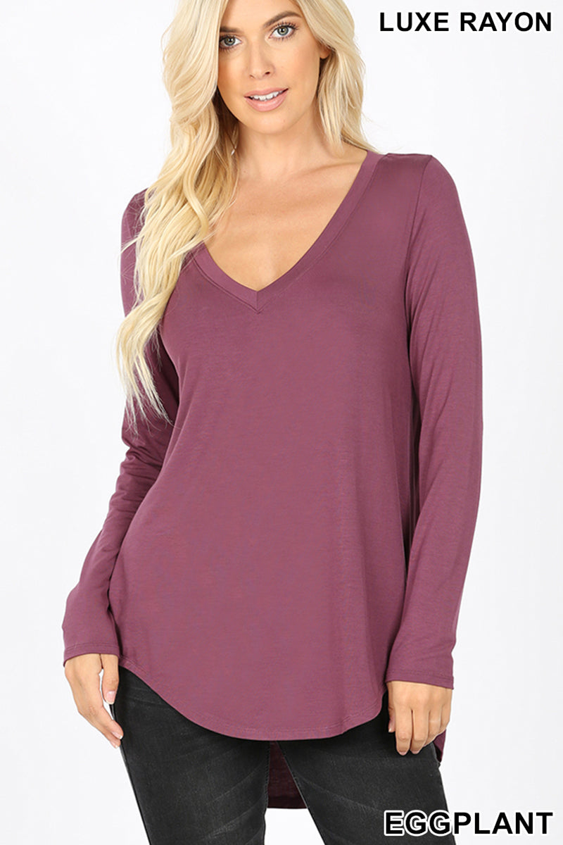 """Rebecca"" Long Sleeve V-neck Top (Eggplant)-Lola Monroe Boutique"