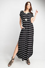 """Line It Up"" Cuff Sleeved Maxi with Pockets-Lola Monroe Boutique"