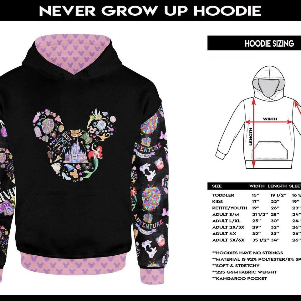 Kids & Adult Never Grow Up Hoodie-Lola Monroe Boutique