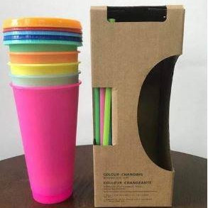 Color Changing Cups with Lids & Straws (5)-Lola Monroe Boutique